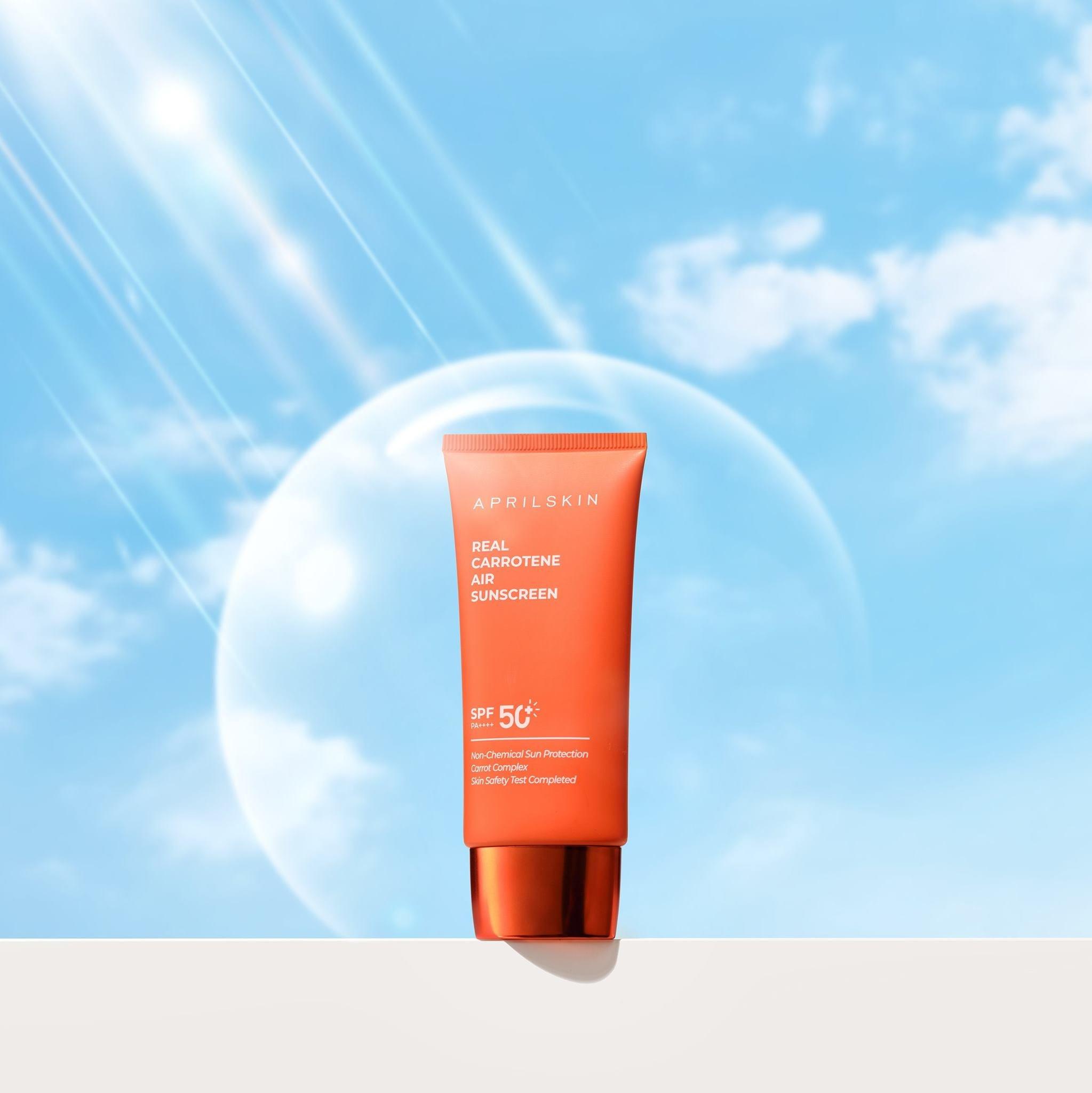 Kem chống nắng cà rốt Aprilskin Real Carrotene Air Sunscreen 50ml + Tặng KÈm 1 băng đô tai mèo (màu ngẫu nhiên)