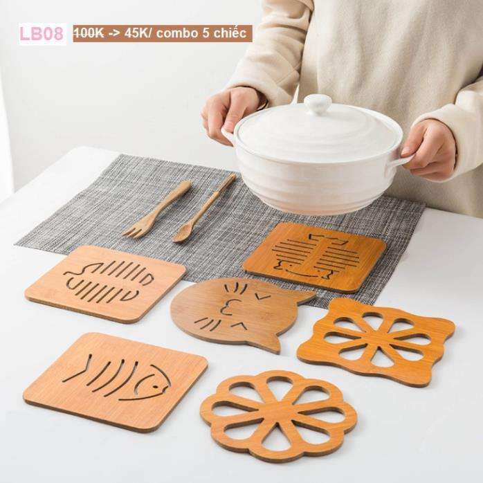 Miếng lót gỗ cách nhiệt bàn ăn, nhà bếp