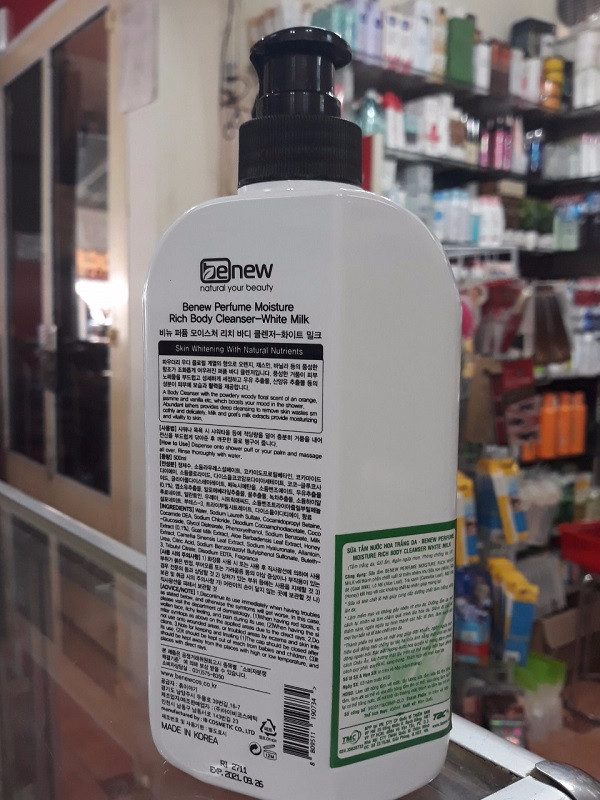 Sữa tắm nước hoa trắng da Benew Moisture Rich Hàn Quốc 500ml thêm móc khoá