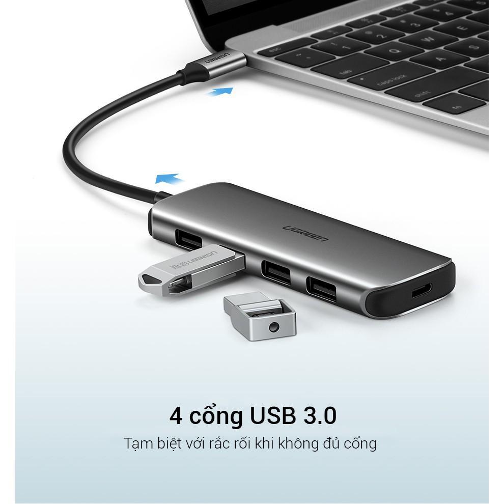 Hub type C 4 cổng USB 3.0 kết nối đa năng, sạc laptop, kết nối cùng lúc chuột, bàn phím, thiết bị ngoại vi vỏ nhôm UGREE- Hàng chính hãng