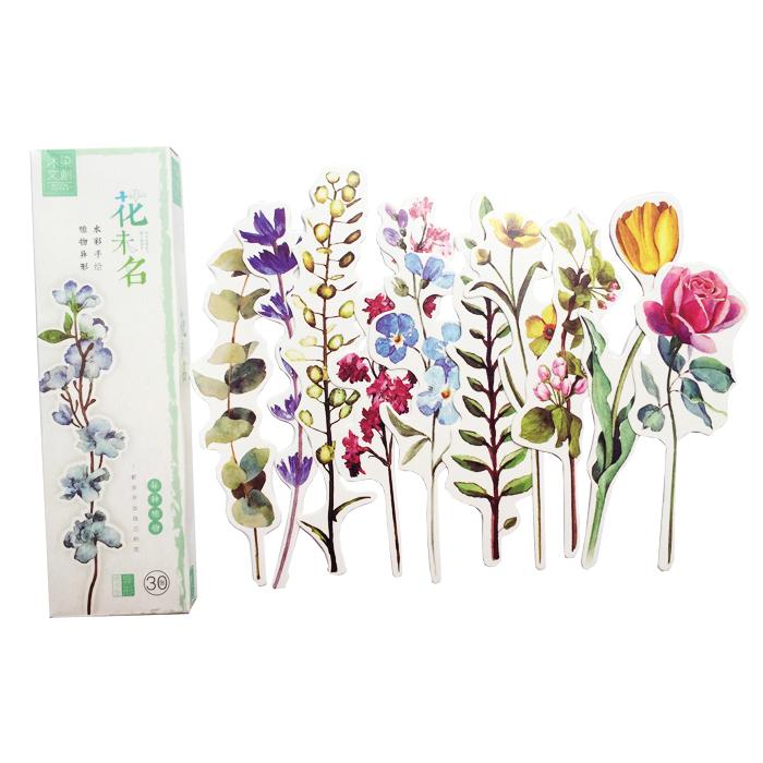 Hộp 30 Bookmark Đánh Dấu Sách Quà Tặng Hoa (Tặng Kèm Bookmark Nam Châm)