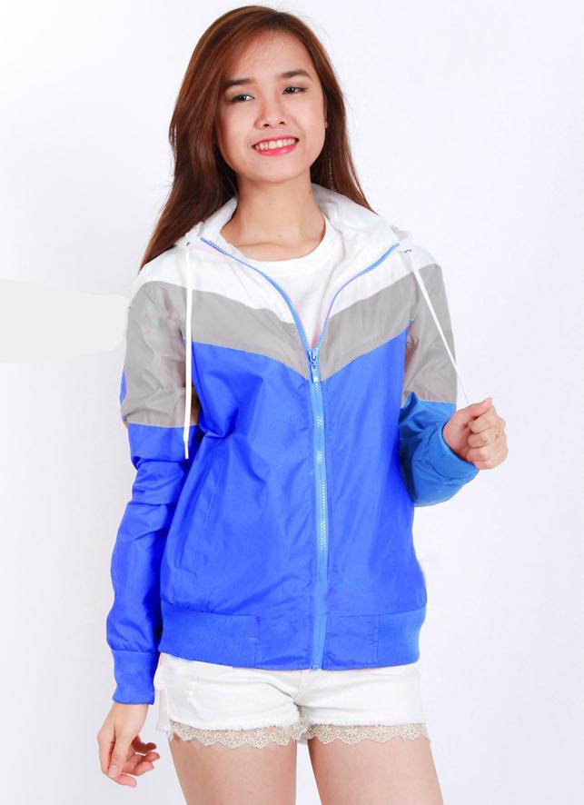 Áo khoác gió nữ phối 3 màu thời trang, vải dù nhẹ nhỏ gọn tiện dụng