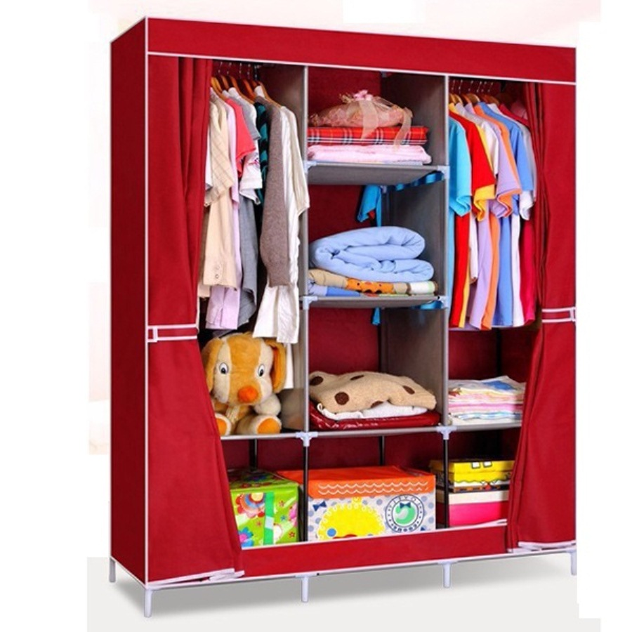 Tủ vải treo quần áo 3 buồng 8 ngăn (Giao màu ngẫu nhiên)