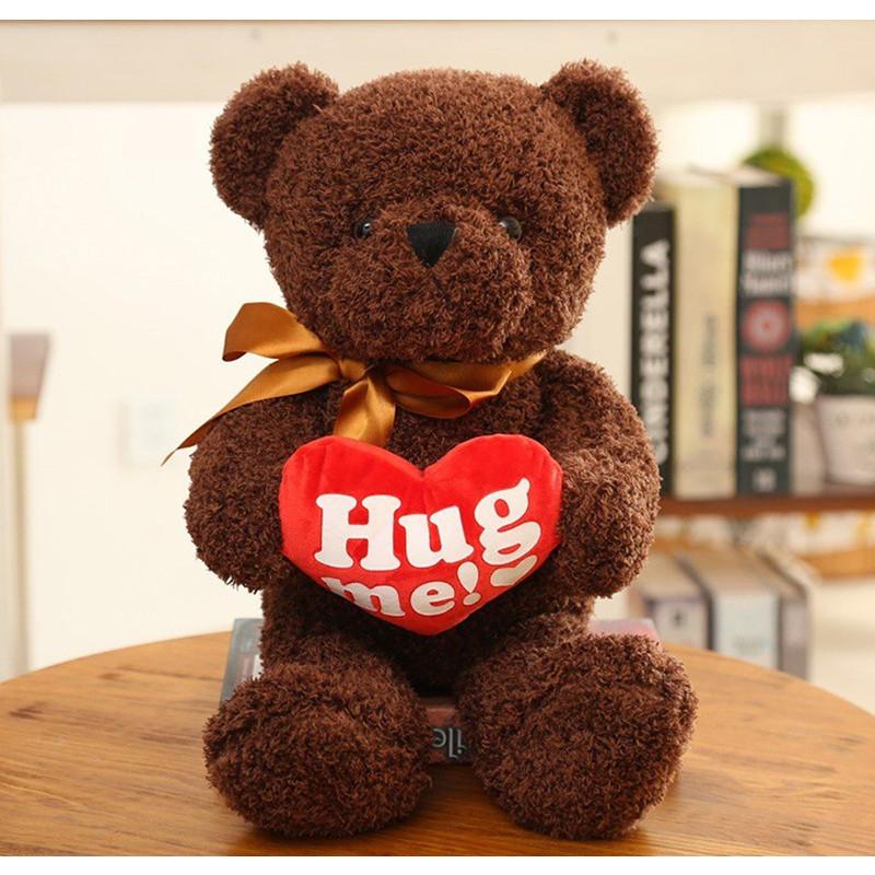 Gấu bông TEDDY LÔNG CHỈ HUG ME NÂU- HÀNG NHẬP KHẨU