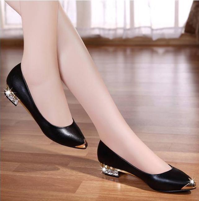 Giày búp bê gót đính đá DS043