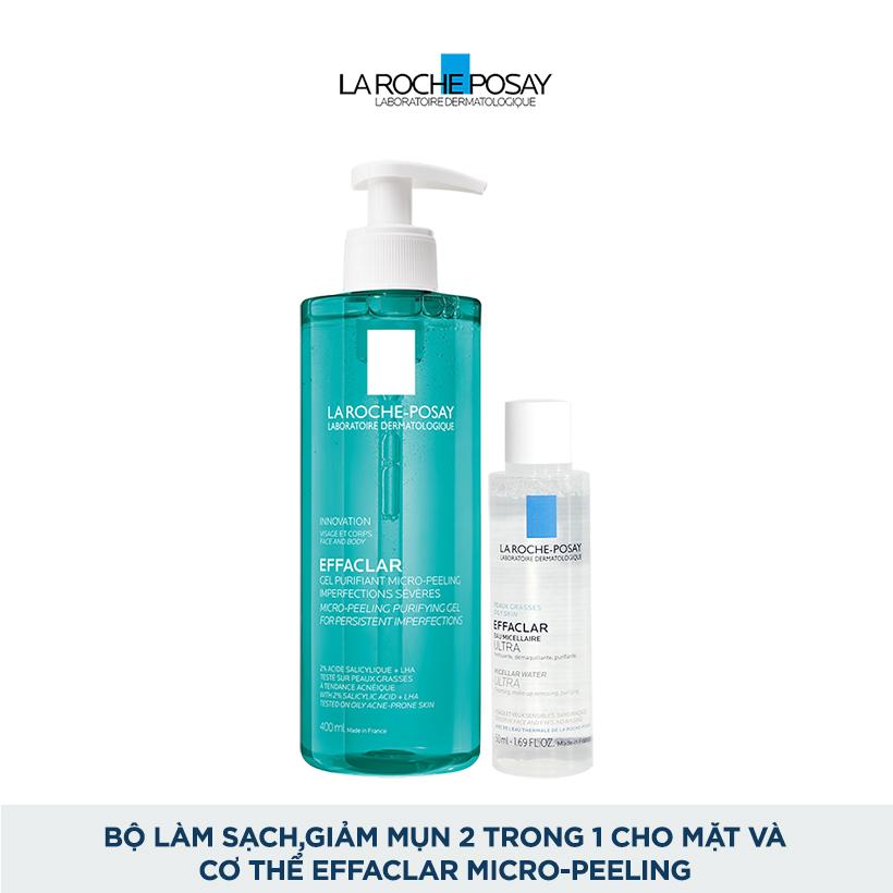 Bộ Gel rửa mặt và tắm giúp làm sạch bã nhờn,giảm mụn & thâm sẹo & ngăn ngừa mụn tái phát La Roche-Posay Effaclar Micro-Peeling Purifying Gel