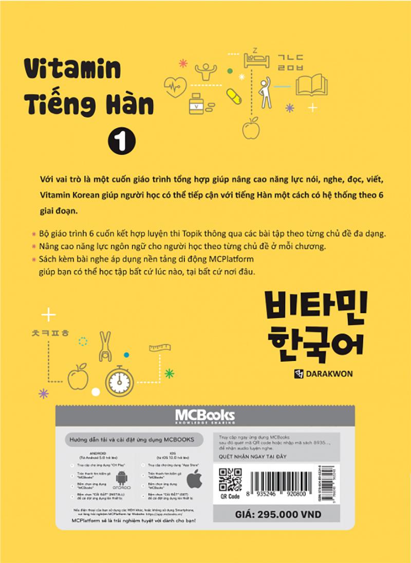 Vitamin Tiếng Hàn 1 (Học Kèm App: MCBooks Application) (Quà Tặng: Bút Animal Kute')