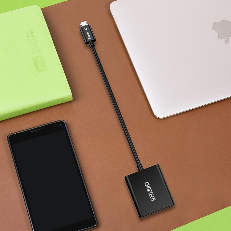 Hub Adapter Chuyển Đổi Cổng USB Type C To VGA CHOETECH HUB-V01 1080P 60Hz - Hàng Chính Hãng