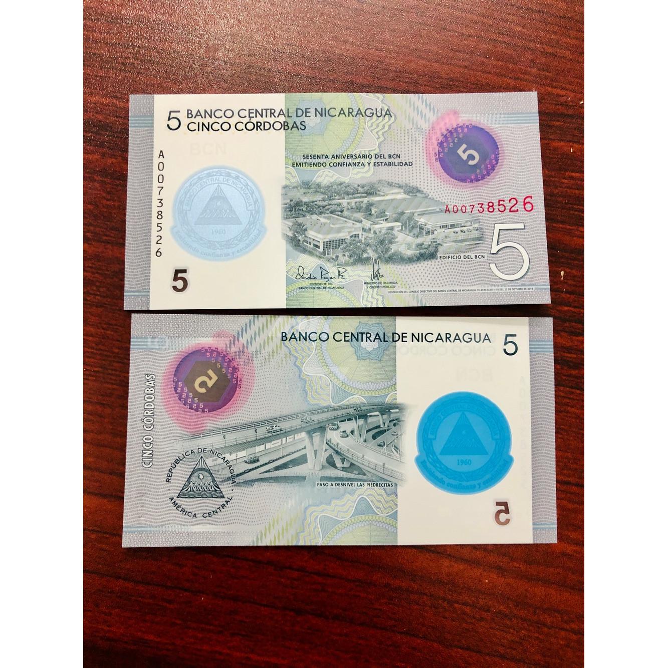 Tờ tiền 5 Cordobas của nước Nicaragua xưa [TIỀN XƯA SƯU TẦM]