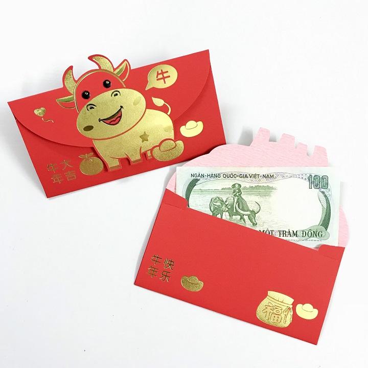 (Mẫu 2) Set 6 bao lì xì con trâu 3D cute nhũ vàng 2021, dùng để đựng thiệp chúc, tiền lì xì, mừng tuổi dễ thương và ý nghĩa - TMT Collection - SP005090