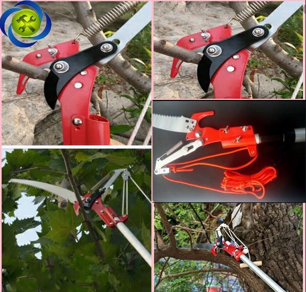 Kéo cắt cành cây trên cao giật dây, chiều dài 2,5 mét. Tặng móc khóa hình công cụ (ngẫu nhiên)