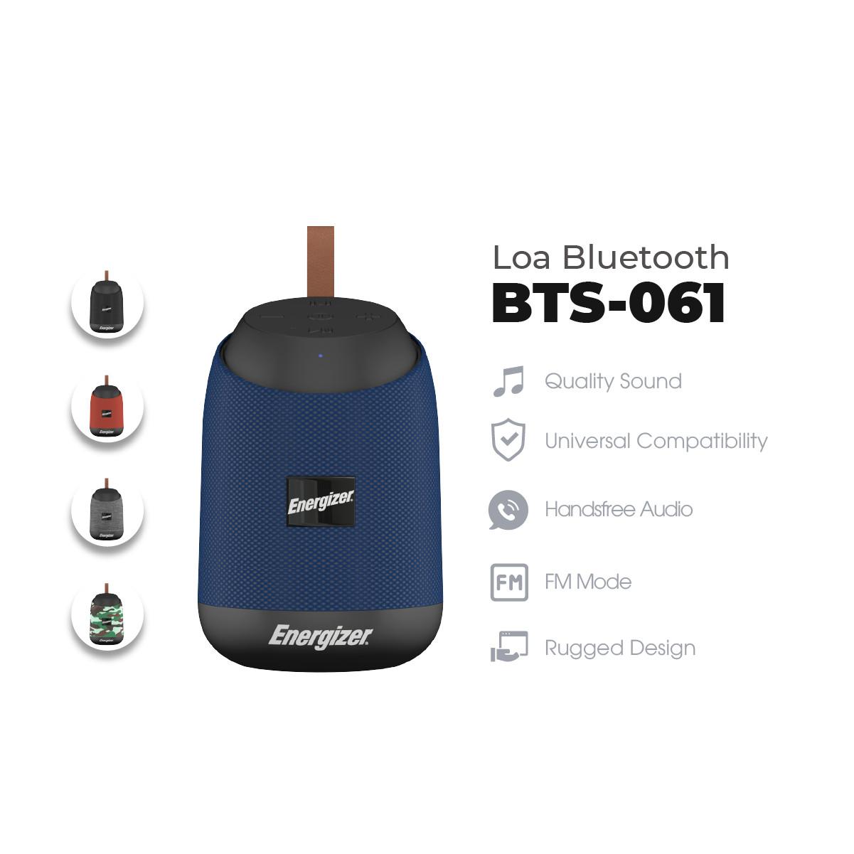 Loa Bluetooth di động Energizer BTS061 kiêm pin dự phòng - Kết nối Bluetooth 5.0, Tích hợp micro, hỗ trợ FM radio, thẻ Micro SD, cổng sạc USB-A - HÀNG CHÍNH HÃNG