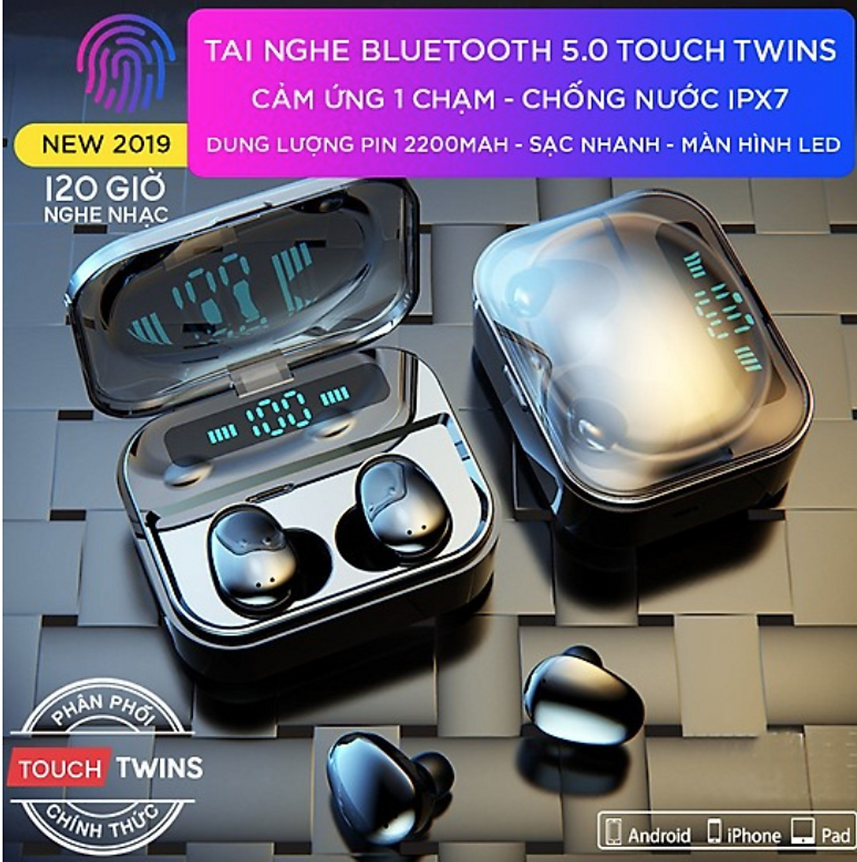 Tai Nghe Bluetooth (Tai Nghe Không Dây) ELEVATED 5.0 Cao Cấp - Tương Thích Cao Với Mọi Loại Điện Thoại - Hàng Chính Hãng