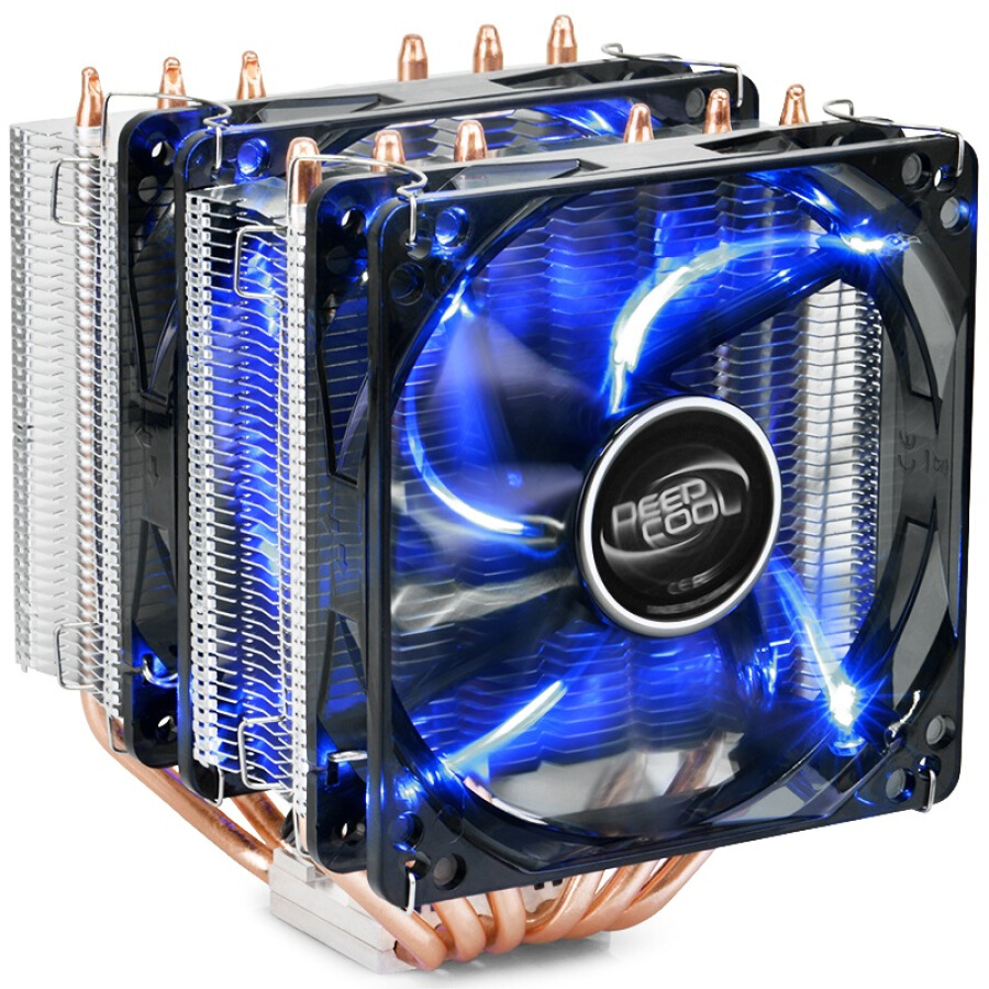 Kyushu Fengshen DEEPCOOL big frost tower CPU radiator multi-platform  6 heat pipe  intelligent temperature control  dual 12CM fan  with silicone grease  mute