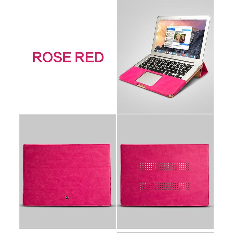 Bao da cao cấp Jisoncase cho Macbook (dạng quyển sổ) màu hồng