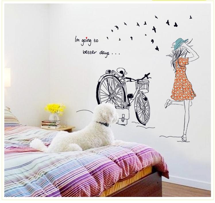 Decal dán tường Combo Cô gái và hoa bồ công anh 3