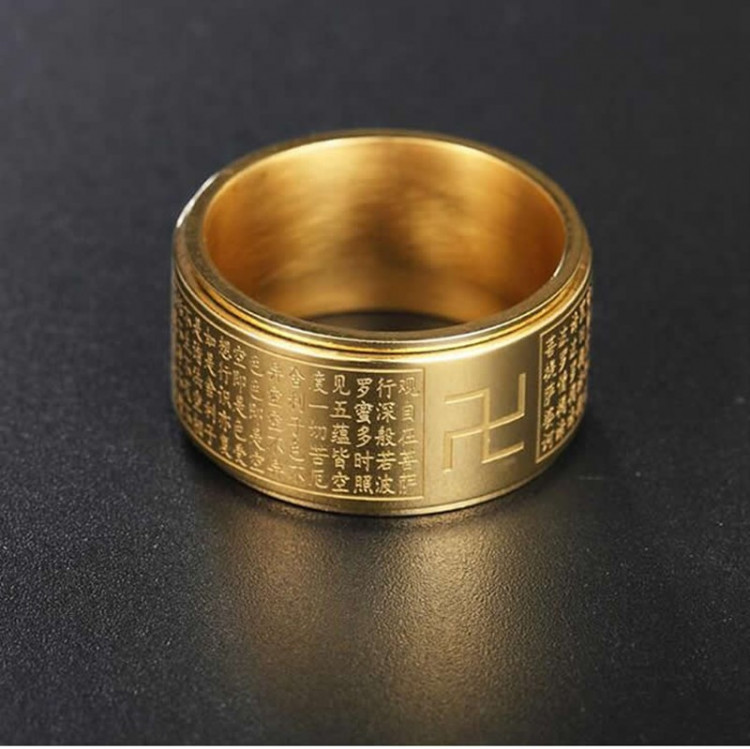 Nhẫn xoay Bát Nhã Tâm Kinh khắc chữ Vạn - Nhẫn phong thủy Hán ngữ may mắn bình an TTB-Ri89 2