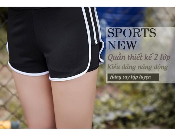 Quần Short thể thao nữ 2 lớp viền màu