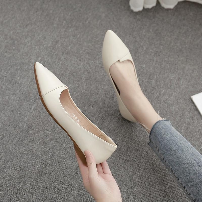 Giày bệt nữ da mềm chất đẹp đủ 2 màu đen kem