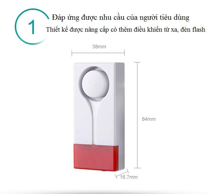 Thiết bị báo động nhà cửa âm thanh lớn, có đèn báo nháy cao cấp (Tặng đèn led dán tủ, dán tường đa năng)