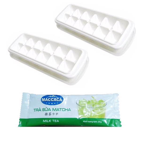 Combo Khay Đá Có Nắp Đậy Trữ Đồ Ăn Dặm 12 Ngăn Kháng Khuẩn Nhật Bản + Tặng Gói Trà Sữa Matcha Macca