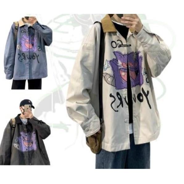 Áo Khoác dù nam nữ và cặp đôi Chống Nắng Có 3 Màu, Unisex Form Rộng in hình Poke Jacket Ulzzang