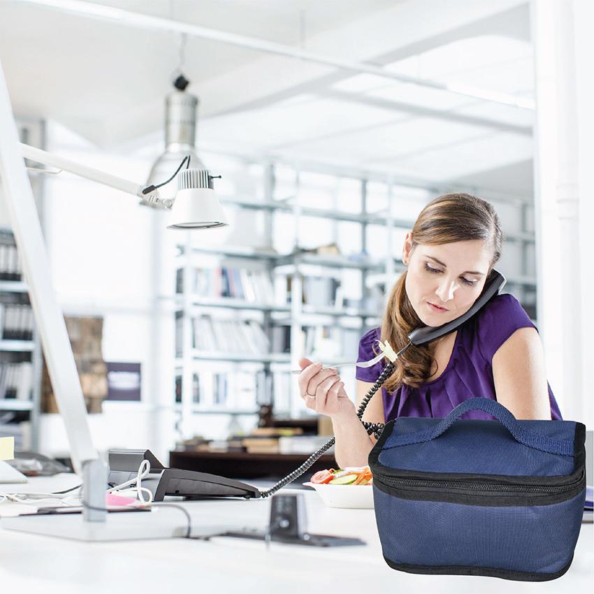 Túi Đựng Hộp Cơm Giữ Nhiệt Văn Phòng Dạng Hộp Màu Xanh Navy Size Nhỏ Có Dây Khóa Kéo Tặng Túi Muỗng Nĩa (Lunch Bags, Box)