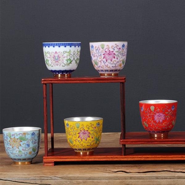 Chén Bạc uống trà Hoa Sen ngũ sắc – màu xanh