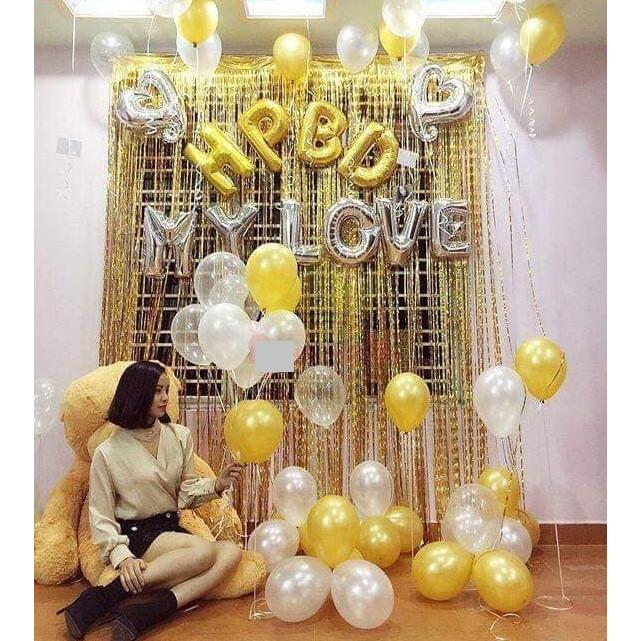 Set bóng trang trí sinh nhật cho người yêu tông trắng - vàng đồng