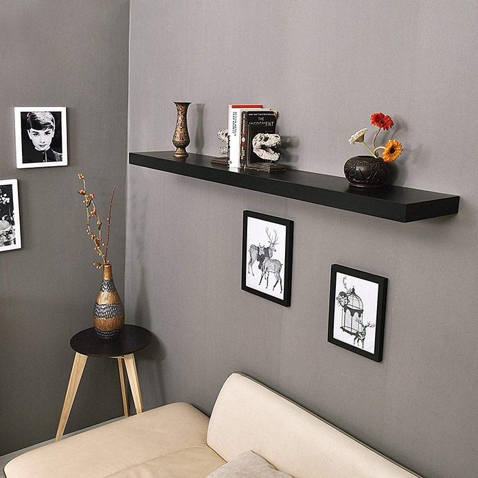 Kệ gỗ treo tường thanh ngang giá đỡ âm chắc chắn SIB KT240-80 (Màu đen)