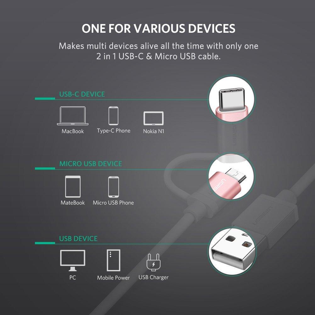 Cáp Sạc Điện Thoại 2 Trong 1 Micro USB và Type C Ugreen 30541 dài 0,25M - Hàng Chính Hãng