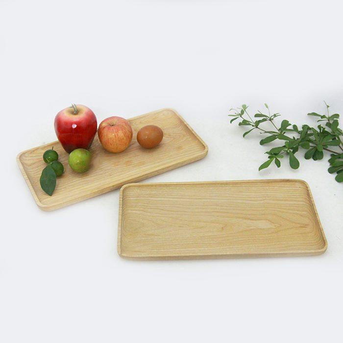 Khay gỗ chữ nhật đựng đồ ăn trang trí