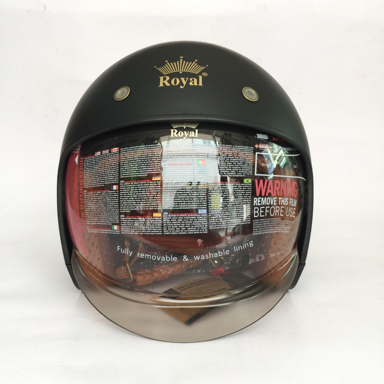 Hình ảnh Nón bảo hiểm 3/4 kính âm Royal M139 Đen nhám cao cấp Lót tháo rời, che hết mặt