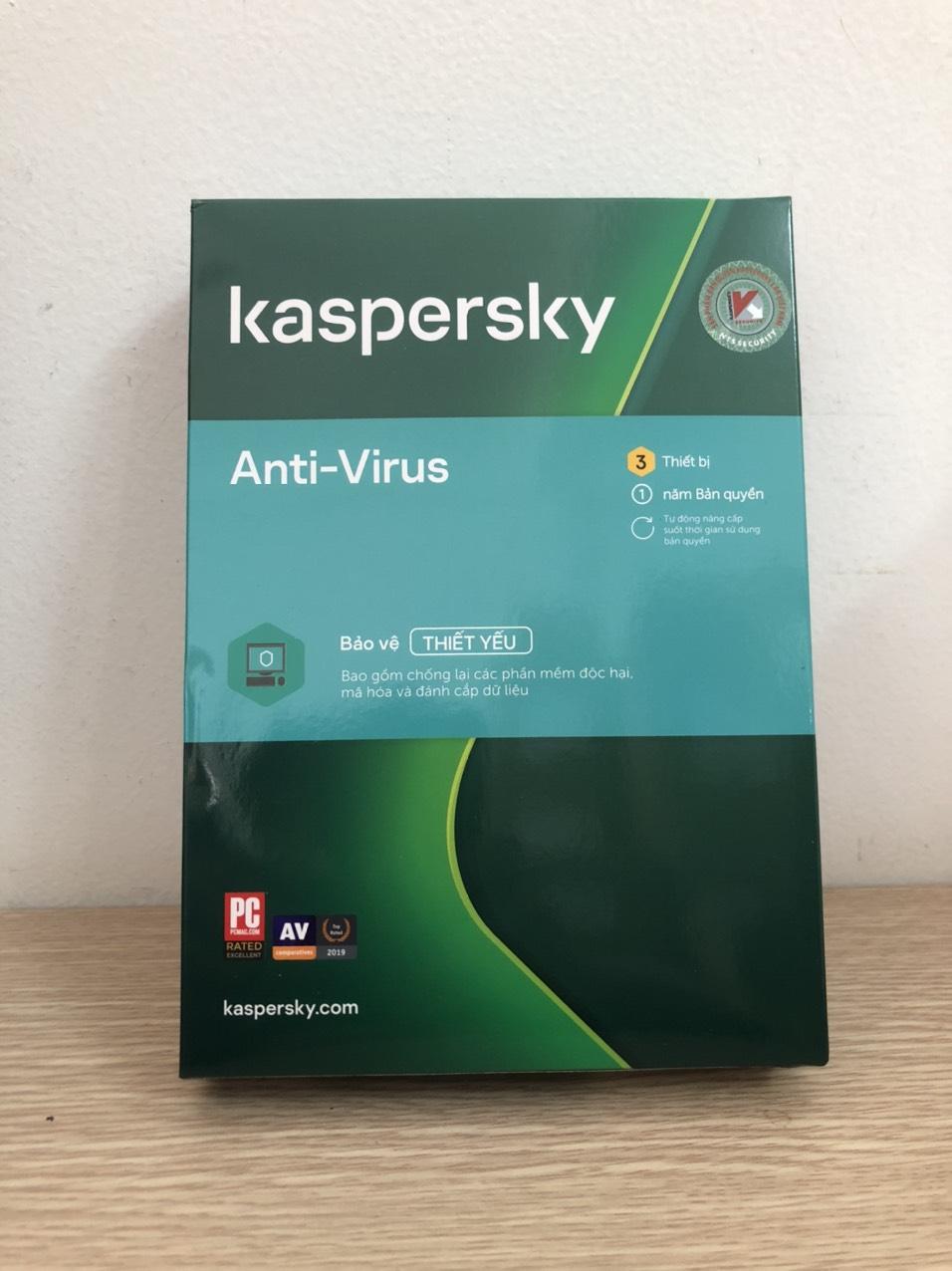 Phần mềm diệt Virus Kaspersky Anti Virus Cho 3 Máy Tính - KAV3U - Hàng chính hãng