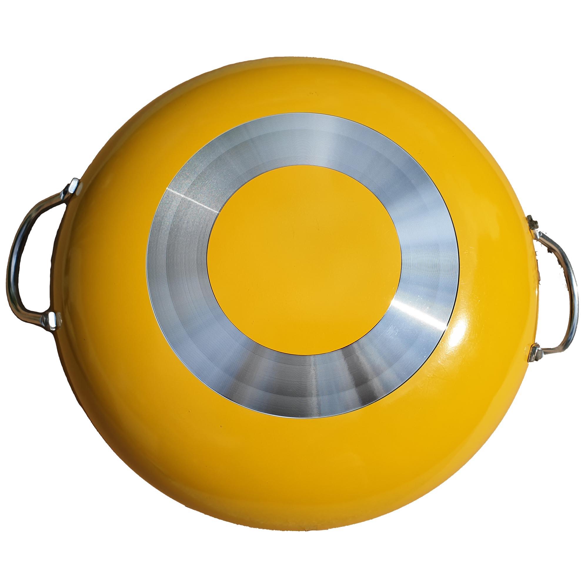 Chảo xào chống dính sâu lòng Green Cook GCP03-34 ALLCARE size 34 cm màu vàng