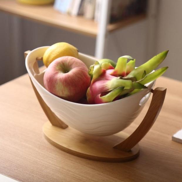 Bát sứ đựng hoa quả có giá đỡ