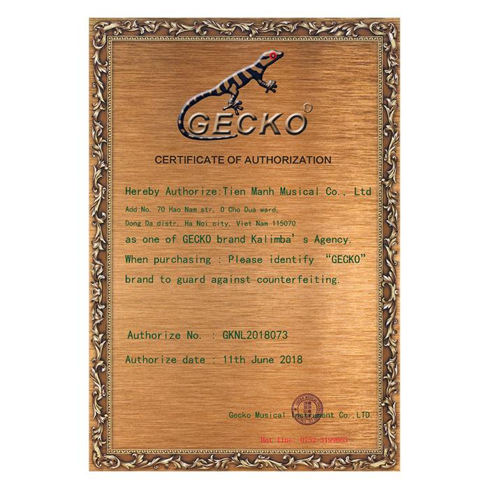 Đàn Kalimba 17 Phím Gỗ Phong Vân Hổ Gecko MC-S Kèm Hộp Đựng - Đỏ Cam