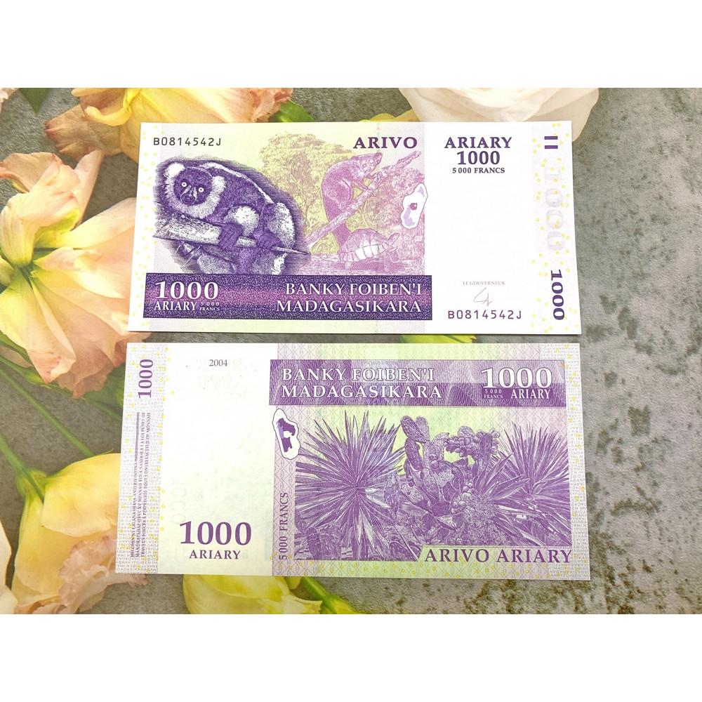 Tiền 1000 Ariary Madagascar màu tím hình gấu túi, tiền quốc gia châu Phi, mới 100% UNC, tặng túi nilon bảo quản