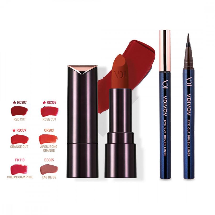 Bộ đôi VDIVOV Son lì Lip Cut Rouge Velvet PK110 CHUNGDAM PINK 3.8g và Eye Cut Brush Liner 02 Brown 0.6g