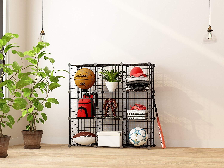 Kệ sách 9 ô, kệ lưới sắt sơn tĩnh điện lắp ghép, tủ kệ sắp xếp không gian, kệ văn phòng, nội thất phòng khách, phòng làm việc