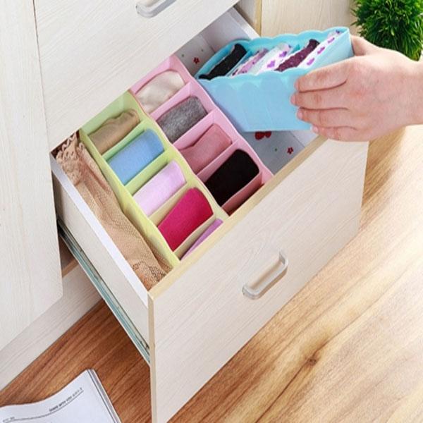 Bộ 2 hộp nhựa 5 ngăn đựng tất, vật dụng cá nhân tiện dụng