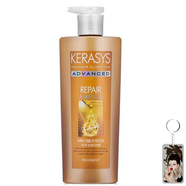 Dầu xả Kerasys Advanced Ampoule Repair phục hồi tóc hư tổn nặng Hàn Quốc 600ml tặng kèm móc khóa