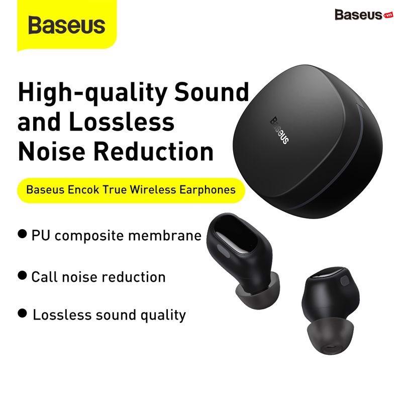 Tai nghe Bluetooth Baseus Encok True Wireless Earphones WM01 (TWS, Bluetooth 5.0, Stereo Earbuds, Touch Control, Noise Cancelling)HÀNG NHẬP KHẨU GIAO MÙA NGẪU NHIÊN