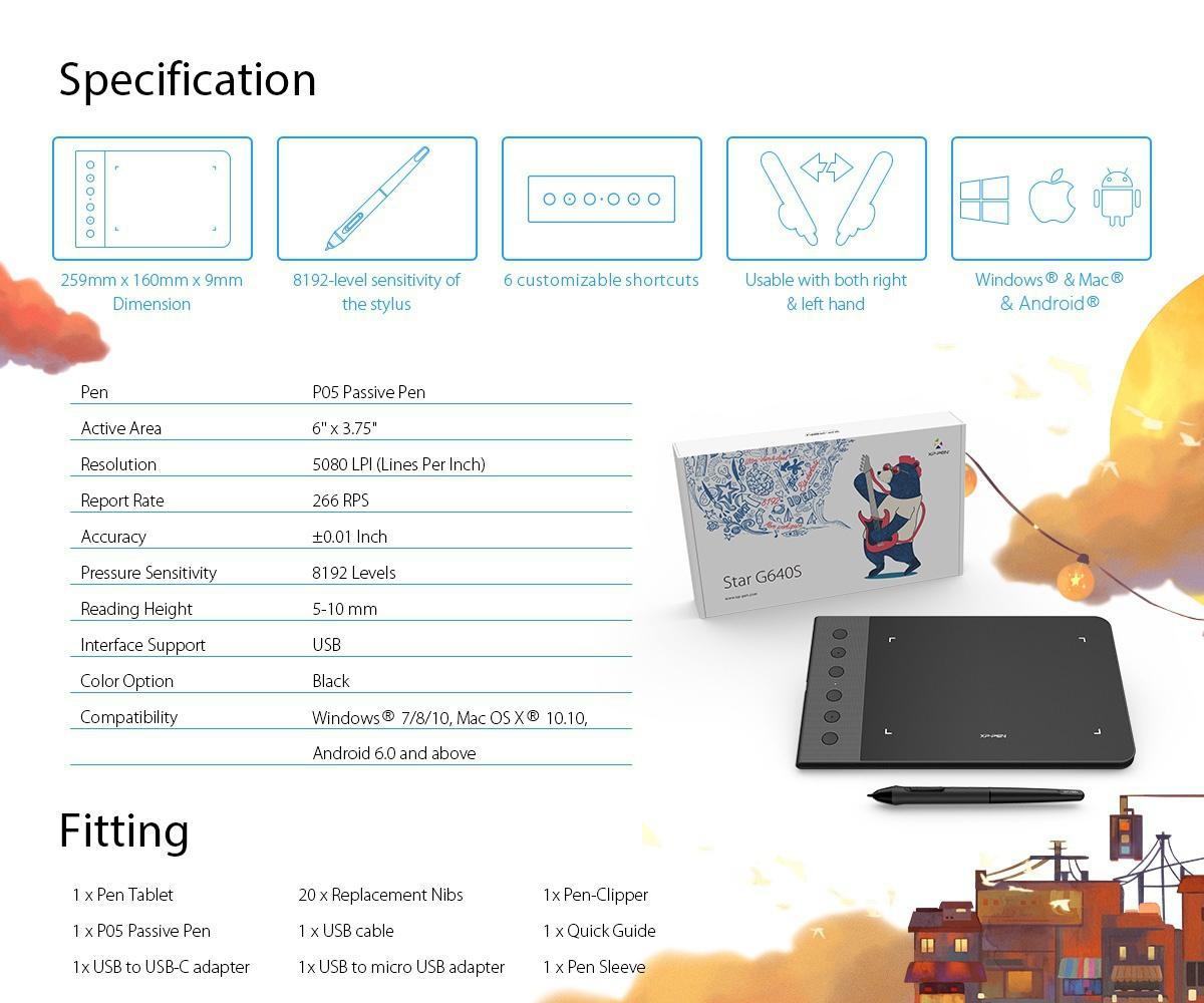 Bảng Vẽ Điện Tử XP-Pen Star G640S Tương Thích Thiết Bị Android Lực Nhấn 8192 Kèm 20 Ngòi Dự Phòng - Hàng chính hãng