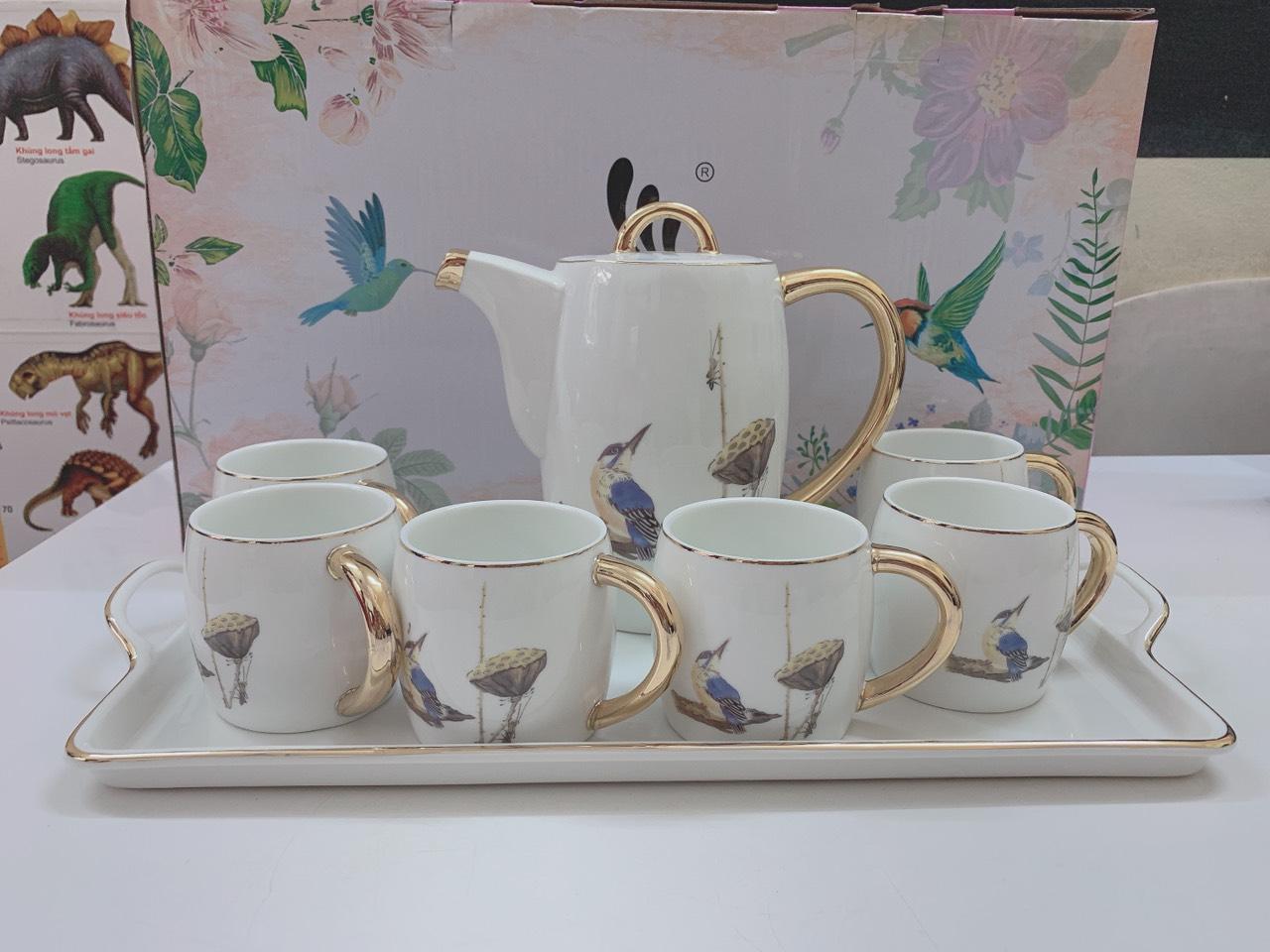 Bộ ấm chén kèm khay sứ pha trà cà phê trắng họa tiết chim và đài sen-ANTH005