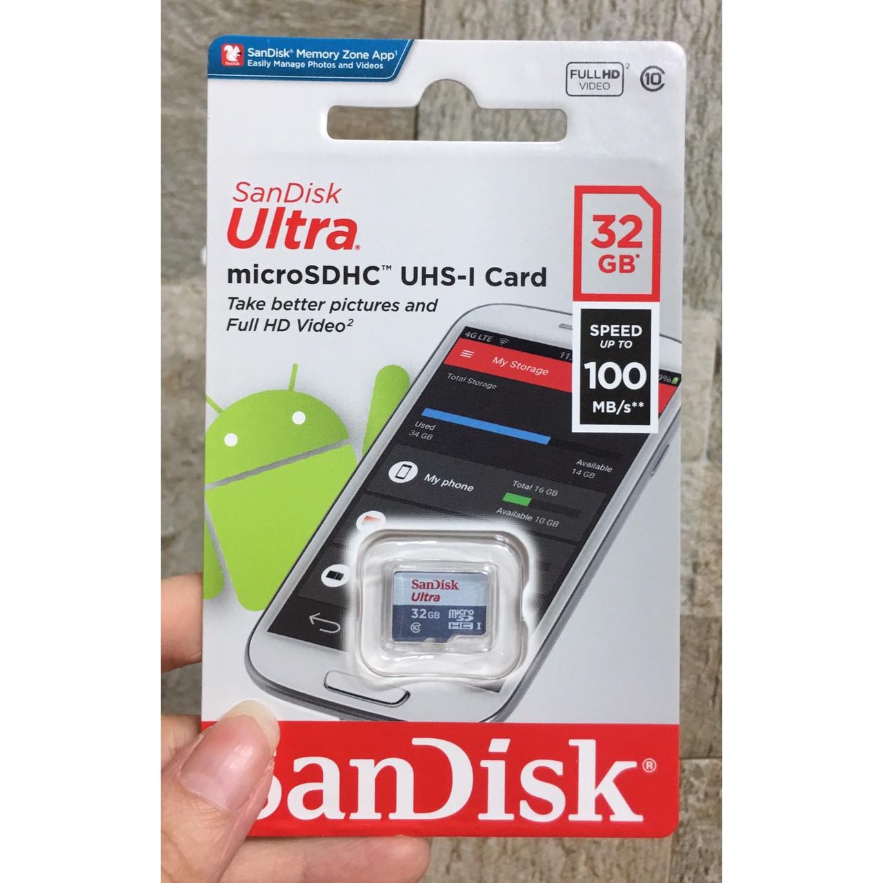 Thẻ Nhớ MicroSD SanDisk Ultra 32GB 100MB/s - Hàng Chính Hãng