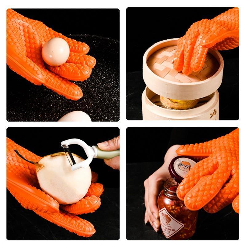 Găng Tay/Bao tay chống nóng nướng bánh chuyên dụng, chất liệu silicon chịu nhiệt