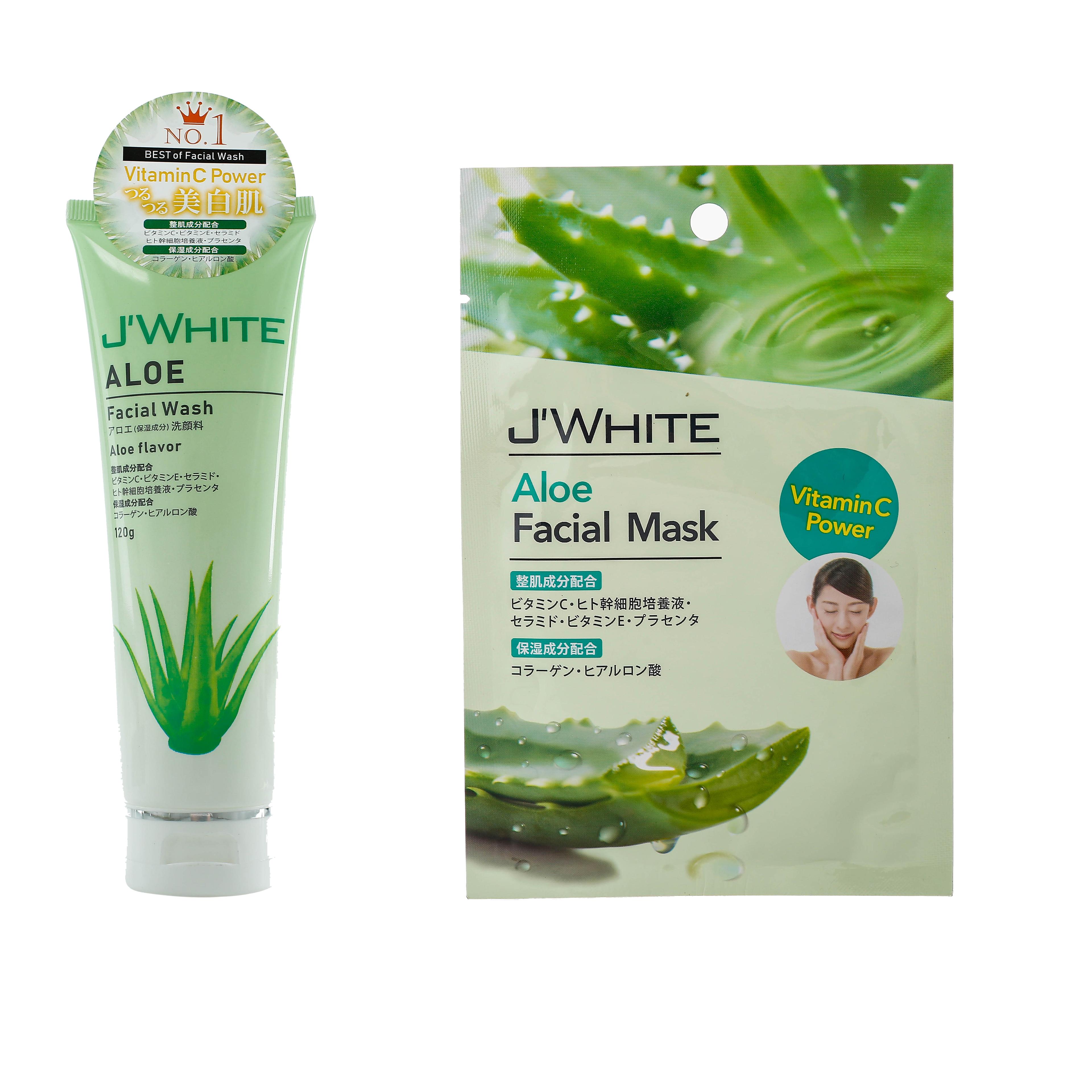 Combo Sữa rửa mặt ngăn ngừa mụn tinh chất Lô Hội JWHITE 120g+Đắp mặt nạ Tinh Chất Lô hội JWhite 25g (3 miếng)