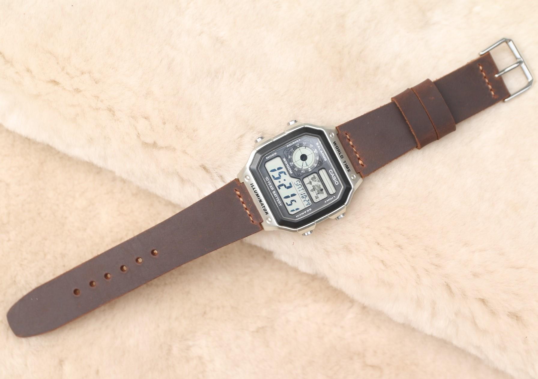 Dây đeo da thay thế đồng hồ Casio AE1200 - Handmade