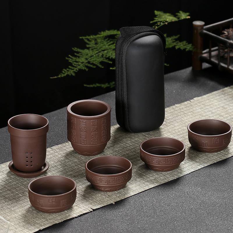 Bộ ấm chén pha trà du lịch gốm cao cấp 6 món